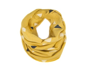 Tumbling Triangles Infinity Scarf - Hand Printed Sweatshirt Fleece Circle Scarf in Pencil Gold White and Black Q