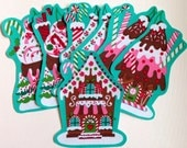 Christmas Gingerbread House Fabric Iron On Applique