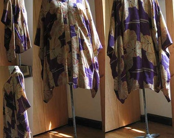 Kimono with Bold Floral and Graphic Patterns