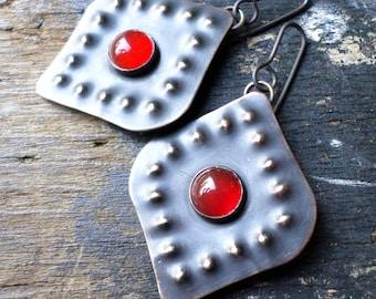 Brass & Carnelian Moroccan Earrings, Burnt Orange Exotic Ethnic Tribal Contemporary Urban Artisan Earrings, Lisa Flanders Handmade Jewelry