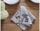 Blue Indian Linen Napkins- Free Shipping to USA.