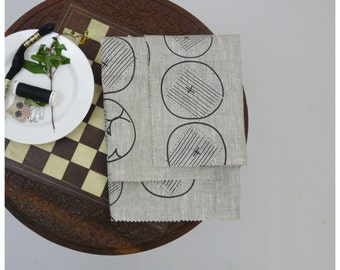 Black garden- Hand printed linen by the yard - Free Shipping to USA