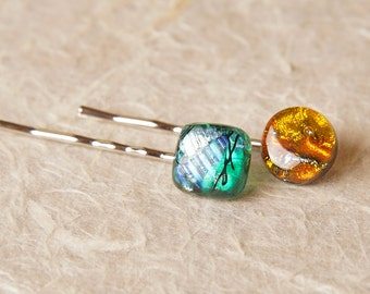 2 Barette Hair Clips Silver Metal and Dichroic Fused Glass