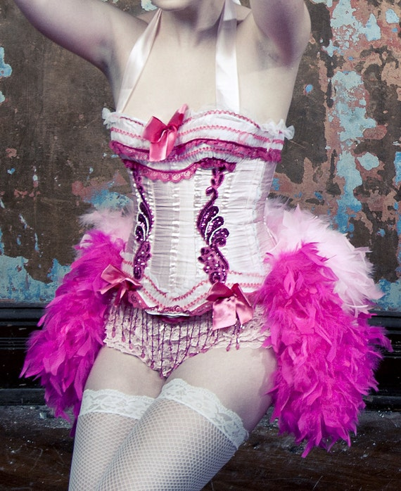 PINK LADY Showgirl Costume Burlesque Corset Saloon Girl Dress 1920s Great Gatsby