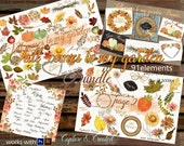 Fall Comes To My Garden Bundle -91 Elements of Flowers, Leaves, Pumpkins, Wreaths & Bouquets