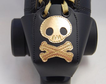 Leather Toe Guards with Gold Skulls and Crossbones