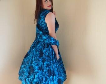 Vintage 1950s Dress, shawl and bel, vlv ,Pin up ,photo shoot ,cotton handmade