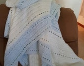 White and Light Blue Crocheted Afghan