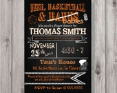 Digital Chalkboard Style Beer, Basketball & Babies Party Invitation You Print Printable ANY COLOR