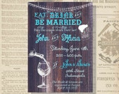 Digital Rustic Blue Stock the Bar Eat, Drink & Be Married Bridal Couples Shower Invitation Personalized Printable Any Color