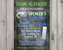 Digital Chalkboard Style Video Game Birthday Invitation Printable ANY Color Fonts