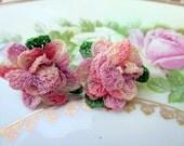 Vintage hand crochet flower earrings Pink and purple