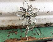Vintage Flower Brooch JULIANA Silvertone Crystal Clear Glass Rhinestones