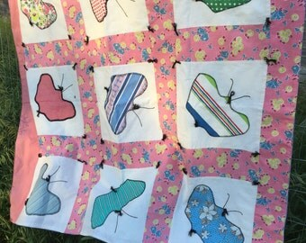 Vintage Lap Quilt Feed Sack Butterfly Applique Blue backing Floral Hand Tied