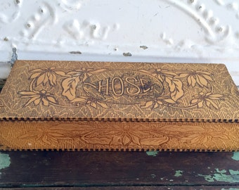 Antique Pyrography box burned carved wood Box Mens Hose Box Floral