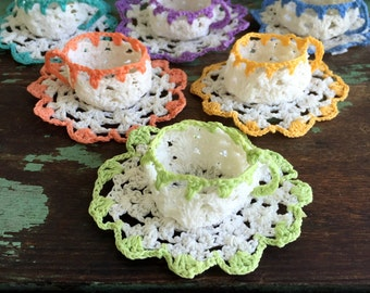 Vintage lot 6 sets of  Crochet Teacups and saucers Doily Thread crochet