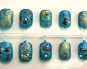 Mermaid Press On Nails for Summer, Short Fake Nails, Summer Nail Art, B, Short Fake Nails, Summertime, Sea, Shell  Nail, Mermaid, Pearl