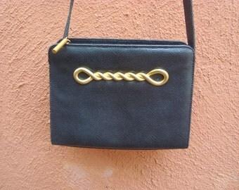 Vintage Albert Nippon Black Textured Leather Crossbody Shoulderbag