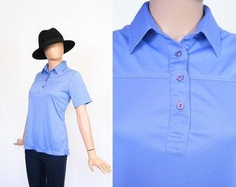 Vintage 70s Shirt / Cornflower Blue / Periwinkle / Storm / 1970s Top / Button Down Blouse / Polyester / Medium