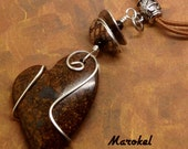 Coiled Heart Necklace Jasper Silver Metal Wire Wrapped Stone  Walnut Brown Love