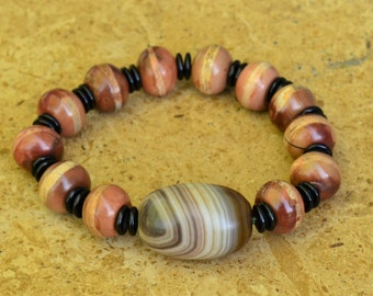 Tibetan Agate Ritual Dzi Big Bead Bracelet on Stretch Cord