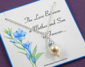Mother and Child Pea Pod necklace, Baby Boy Gift Boxed Necklace, New Mother Gift, Christening Gift, Baby Shower Gift