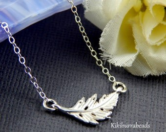 Feather layering necklace, Sterling silver feather necklace, leaf necklace