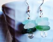 Aqua, White and Green Nesting Sea Glass Drops
