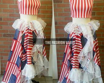 4th of July Sample sale Uncle Sam halter dress train skirt Cape Poncho Coverup  Cosplay Costume