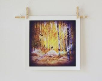 Magic Follows, Woodland Fairytale Fantasy Art Giclée Print Made to Order