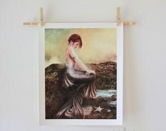 Sea Faerie Mermaid Giclee Art Print 11 x 14 inch Red Haired Water Nymph Sea Siren