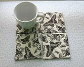 butterflies black n white set of mug rugs