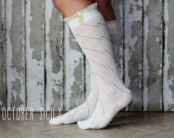 Lace & Button Boot Socks! 4 Colors