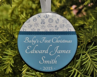Baby's First Christmas Ornament - Blue & White - Personalized C034
