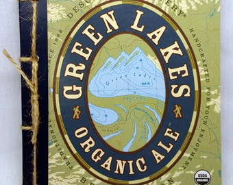 Ode to Mother Earth--Green Lakes Organic Ale Recycled Beer Journal, Upcycled, Blue, Hiking, Maps, Deschutes, Bend, Oregon, Pacific Northwest