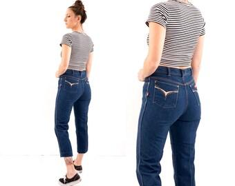 vintage 70s HIPPIE embroidered POCKET denim jeans M-L