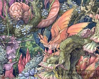 "Original Watercolor Painting ""Territorial"" dragons aliens creatures art nature jungle forest"
