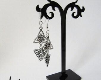 BACK to SCHOOL SALE Antique Silver Dangling Celtic Trinity Knot Earrings (Ersp2)