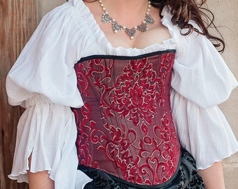 Red and White Corset XL, Renaissance, Steampunk, Costume