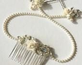 Flower drape bridal comb, hair accessories, hair clip, hairpin, headpiece, unique hair jewelry, pearl, rhinestone, hanging comb