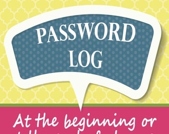 Password Log for your Planner