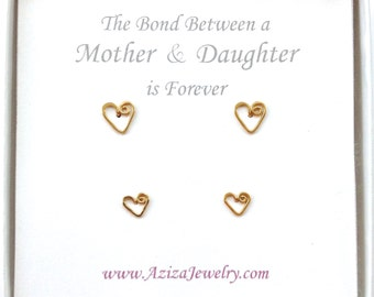 Mother Daughter Gold Heart Studs Set. 2 Pairs 14k Gold Filled Heart Studs Set in Medium and Small.
