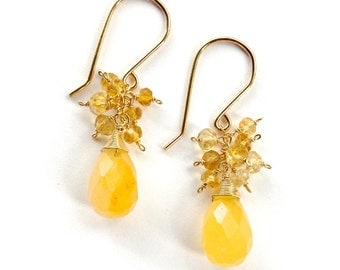 Yellow Gold Jade and Citrine 14k Gold Filled Earrings. Yellow Gemstone Sparkly Dangle Earrings.