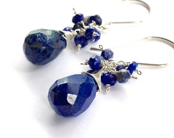 Midnight Blue Lapis Lazuli Gemstone Earrings with Sterling Silver. Dark Blue Gemstone Dangle Cluster Earrings. Faceted Royal Blue Earrings