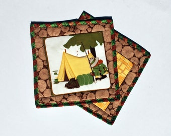 Camping Gift Cotton Quilted Potholders snackmats Fishing Camp set of two great outdoors tent fishing owl Quiltsy Handmade
