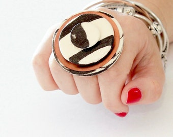 Marbled Ceramic and Copper Statement  Ring - big ring  bold ring  oversize ring  handmade ring by StudioLeanne