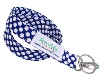 Navy Blue Lanyard Polka Dot Lanyard ID Badge Holder  --  Ready To Ship