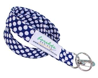 Teacher Lanyard Key Fob ID Badge Holder Fabric Lanyards Neck Lanyard ID Badge Lanyard Key Holder Keychain Lanyard Fabric Lanyard Navy Blue