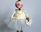 Annabelle the Christmas Snow Angel FolkArt  Doll Collectible Sculpture