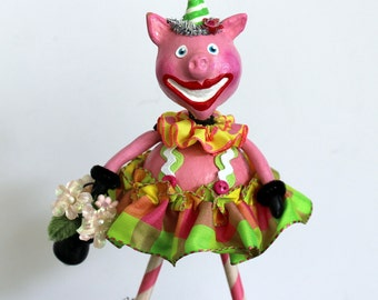 Whimsical Pink Pig Folk Art Doll Collectible Sculpture